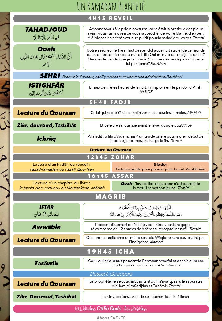 Planifiez votre Ramadan