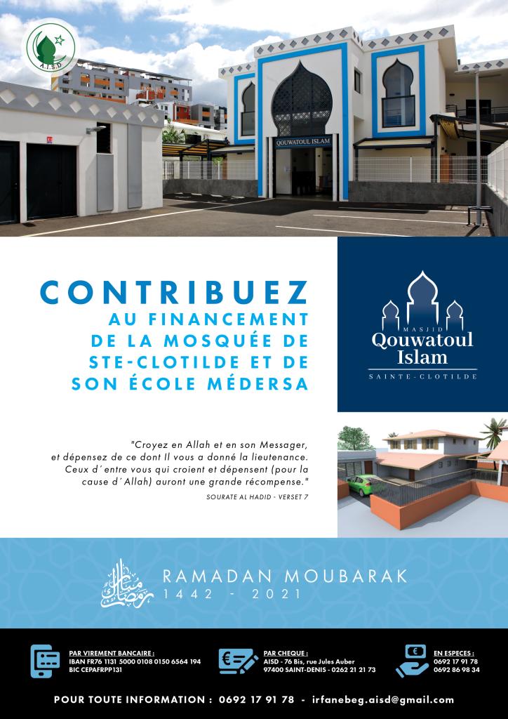Affiche AISD Ramadan 2021 - Constructi on mosquée et médersa Ste-Clotilde