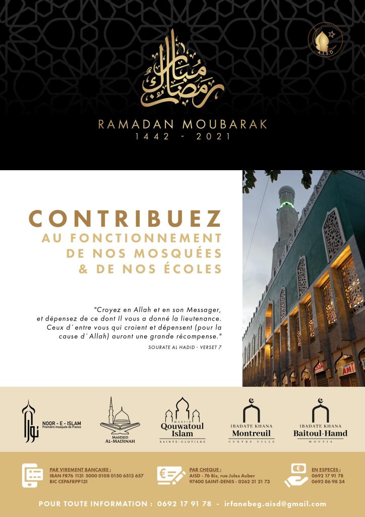 Affiche AISD Ramadan 2021 - Fonc tionnement mosquées et écoles