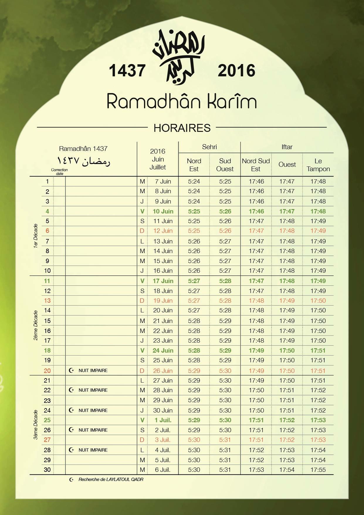 Calendrier Ramadhan 1437